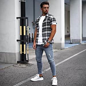 navy blue plaid shirt men mens short sleeve plaid shirts 2x