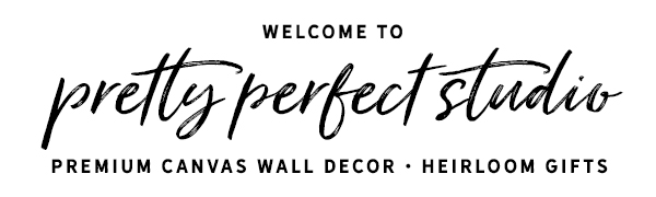 Pretty Perfect Studio canvas wall decor heirloom gifts logo header