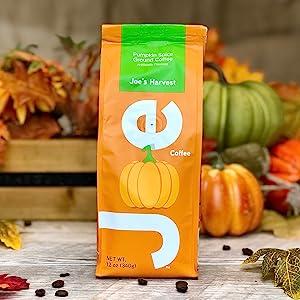 Joe Knows Coffee. Fresh roasted ground pumpkin spice flavored gourmet coffee. Fun package fall theme