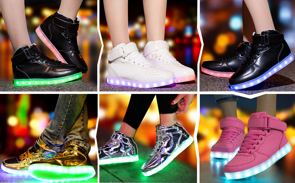 Womens LED Light Lace Up Warm High Top Ankle Boots USB Charging Shoes Sneakers