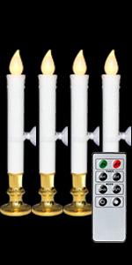 4 Pack Flameless Window Candles Gold Holders