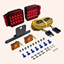 "LED Trailer Light Kit For Trailers Under/Over 80"" Wide of all the included materials."