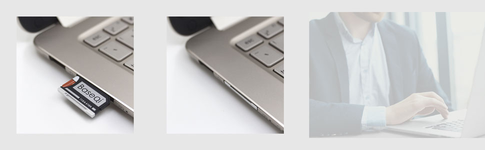 MacBook with baseqi micro SD adapter, a man using MacBook