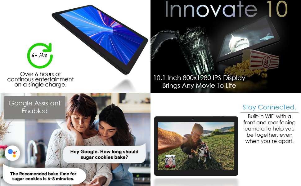 image showing the Innovate 10 is google assistant enabled, offers HD Display, and 6 hours battery