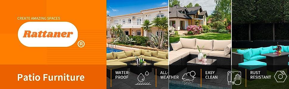 Rattaner Patio Garden Sectional Furniture Set 6 Pieces, Outdoor Wicker conversation Sofa Couch Set