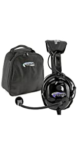 RA900-BUNDLE Rugged Air Radios Aviation Headset Bag Case Gel Ear Seals Cloth Covers Mic GA Dual Plug