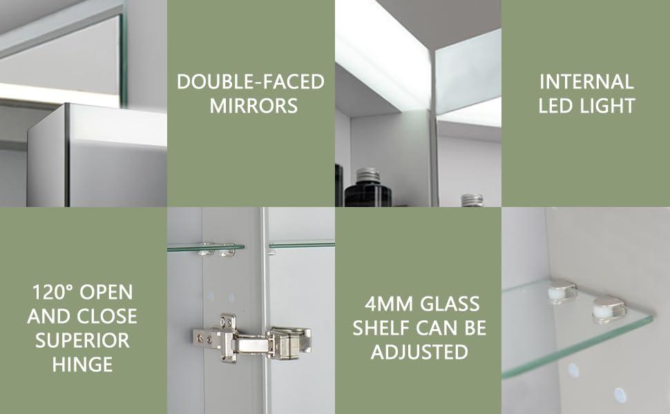 LED Bathroom Mirror Medicine Cabinet, Flexible Assembly,Intelligent Switch, IP44, Aluminum Frame