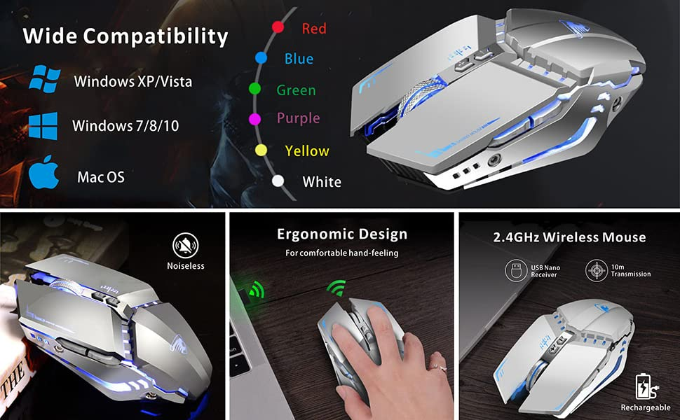 silent rechargeable wireless mouse