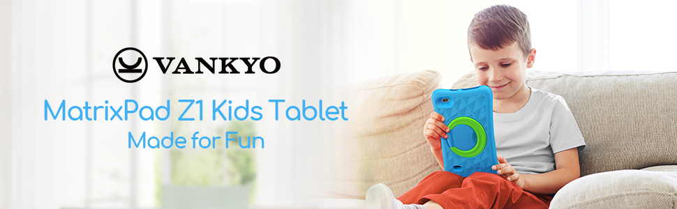 kids playing tablet - VANKYO MatrixPad Z1 Kids Tablet 7 Inch, 32GB ROM, Kidoz Pre Installed, IPS HD Display, WiFi Android Tablet, Kid-Proof, Blue