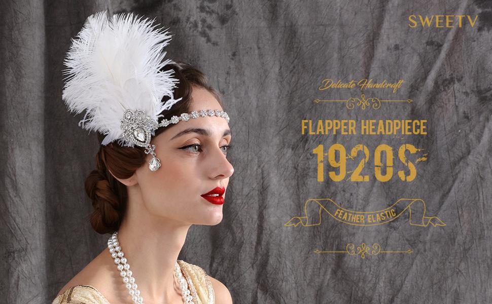 SWEETV 1920s Feather Headpiece Ivory/ Black