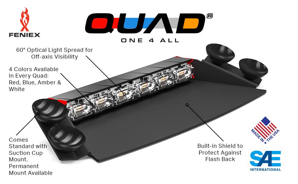 Feniex Quad LED Lightbar Lightstick Light Bar Stick Emergency Strobe Light Amber Red Blue Police