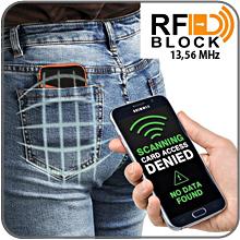 travel wallet passport coin zipper anti cloning rfid block data scanner