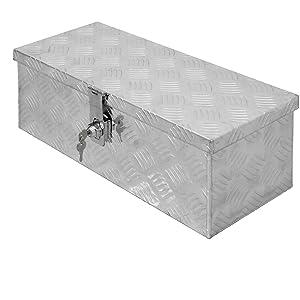 ECD Germany Caja de Aluminio Multiusos 57 x 22 x 19 cm Resistente a la Corrosión con Sistema de Cierre Cajón de Almacenamiento de Herramientas Maletín Seguridad y Transporte fácil Montaje en