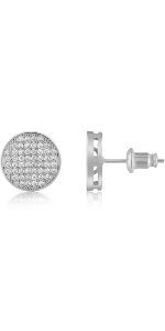 disc round dot halo circle diamond pave earrings for women men girls boys holida wedding eternity