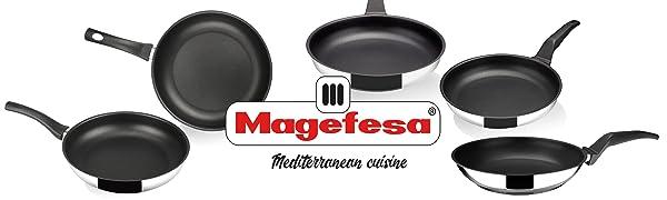 MAGEFESA ESSENCIAL – Pack 3 sartenes antiadherentes Doble Capa, Acero Inoxidable, Compatible con Todo Tipo de Fuego, INDUCCIÓN Total. Fácil Limpieza y Apta para lavavajillas. (Pack 18 24 28): Amazon.es: Hogar