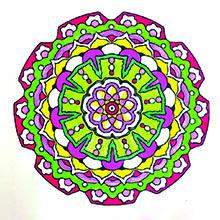Vivid colors used for mandala coloring