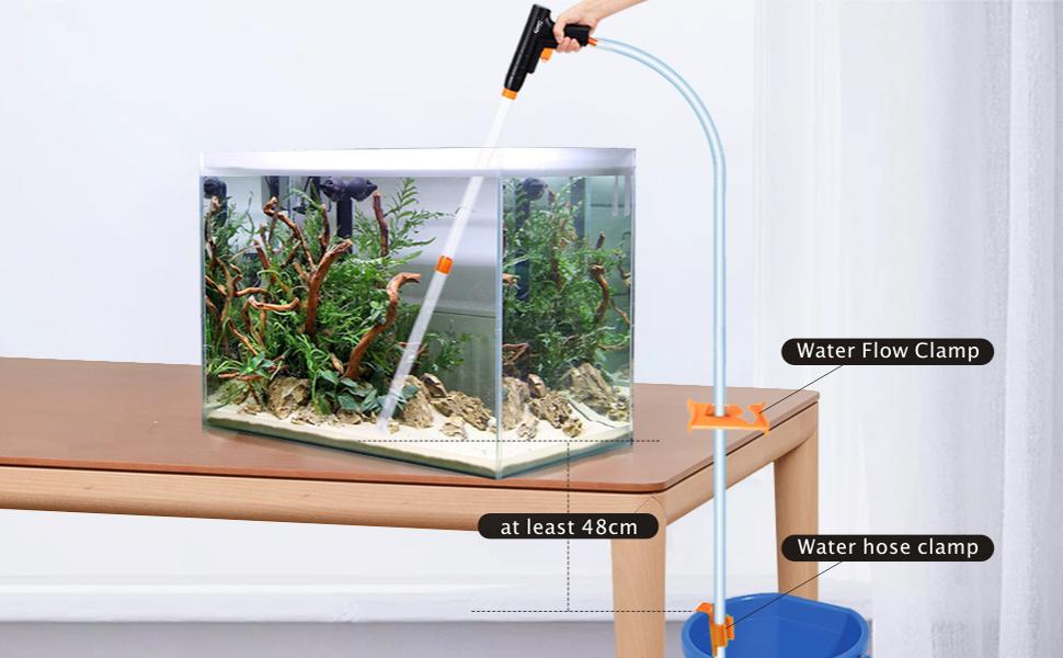 Hygger Multifuncional Acuario Grava Limpiador,Manual Rápido Cambiador Agua con Lavar Arena Conjunto,Aspiradora de Sifón de Acuario con Abrazadera de Controlador de Manguera de Agua (Naranja): Amazon.es: Productos para mascotas