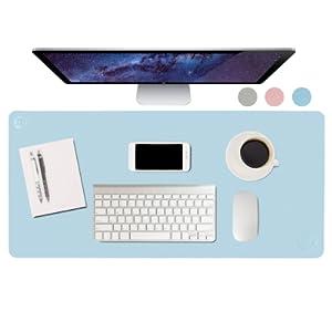 Leather Desk pad blue 36 by 17 large Leather non slip medium large desks blotter mat home office