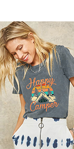 Happy Camper Shirts Camping Shirts for Women Funny Camping Shirts with Sayings