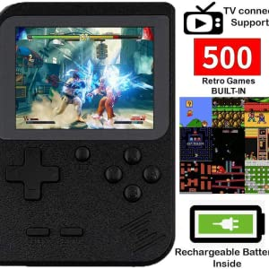 DigitCont Retro Game Console Mini Handheld Arcade Built in with 500 Classic Games 2 Players Mode Portable Game Cabinet Machine Rechargeable Battery Inside Support Connect TV Red