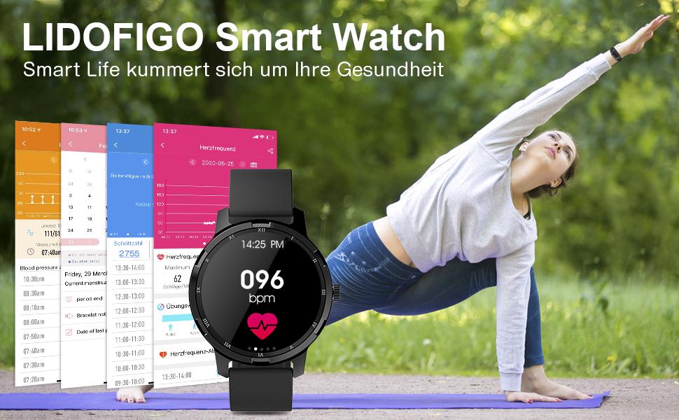 Fitness Uhr Schlafmonitor schrittzähler Smartwatch Damen Herren Smart Armband Uhr für iOS Android