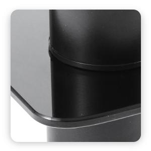 black tempered glass with round corner much safer