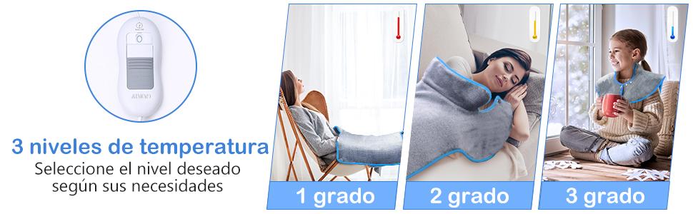 60x85cm Manta Electrica Espalda y Cuello, Almohadilla Eléctrica ...