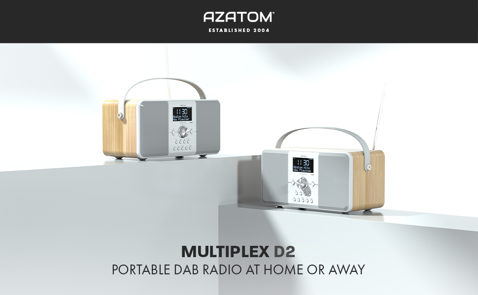 Azatom Multiplex D2 Digital DAB FM Radio with Bluetooth Built-in Battery Headphone Out USB Charging