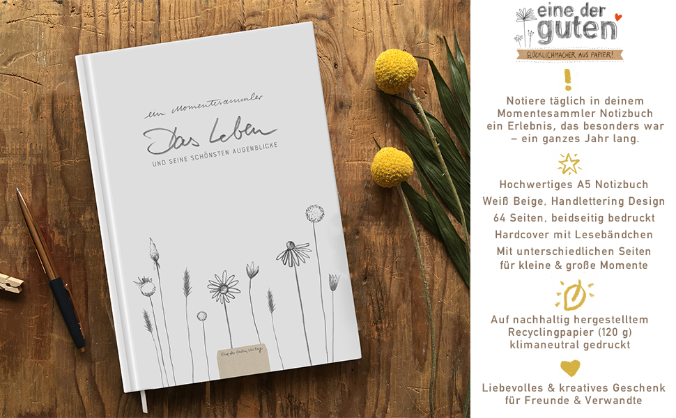 momentebuch momente erinnerungen notizbuch tagebuch weiß hardcover A5 blumen handlettering design