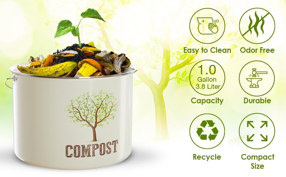 compost bin bucket kitchen countertop counter top charcoal filter