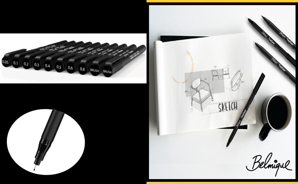 stabilo filzstifte set skizzenbuch sketchbook edding schwarz handlettering farber castel stifte