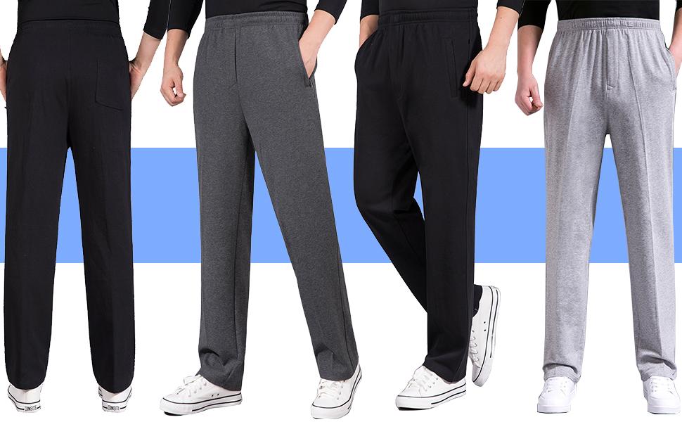 Mens Casual Cotton Jogger Sweatpants Zipper Front Straight Pants
