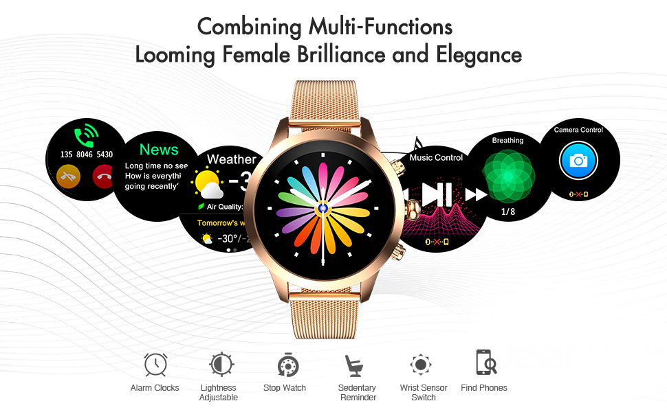 smart watch with blood pressure  Stopwatch and Timer  Magnetic Charging Method and Long Battery