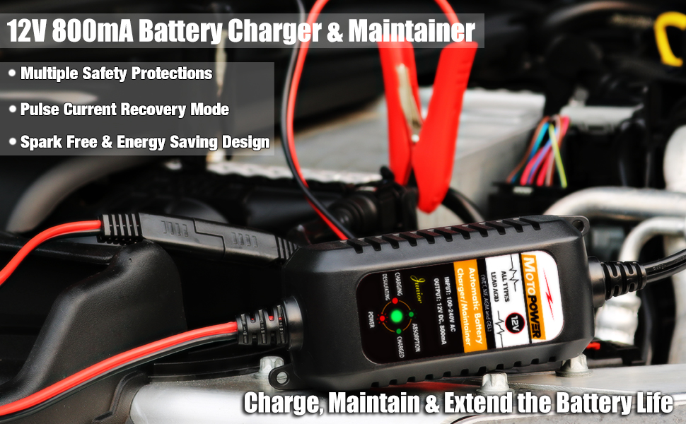 motopower 12v battery charger maintainer
