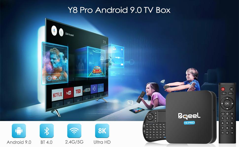 Android TV Box - Bqeel Android 9.0 TV Box 【4GB+32GB】 con Mini Teclado Amlogic