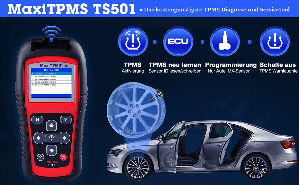 Autel Maxitpms Ts501 Tpms Tool Obd2 Reifen Druck Monitor System Diagnosegerät Für Tpms Sensoren Aktivierung Tpms Erneut Lernen Tpms Programmierung Auto