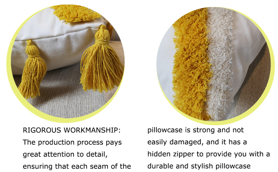 tassels decorative throw pillow cover tufted morocco tribal boho yellow white beige cream
