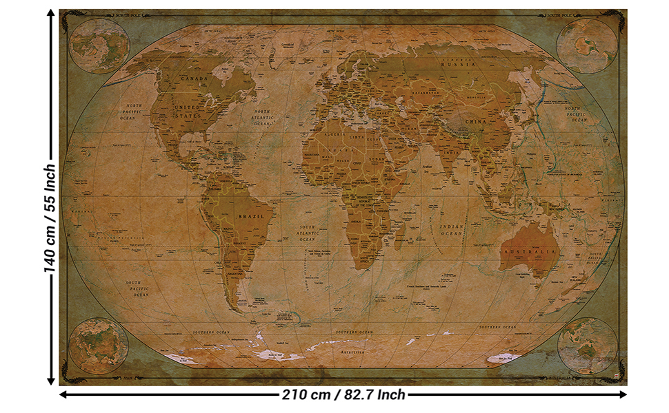 Mural – Historical World Map Poster XXL – Wall Picture Decoration Globe  Antique Vintage World Map Used Atlas Map Old School Wallpaper Photoposter  ...