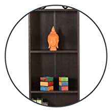 DeckUp Lexis 4 Shelf Book Shelf/Display and Storage Unit (Dark Wenge, Matte Finish SPN-FOR1