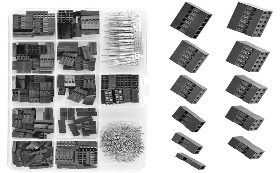 sourcing map Conector Terminal JST-SM 50 Pares de 2,54 mm de pl/ástico Negro de 4 Pines Hembra Macho