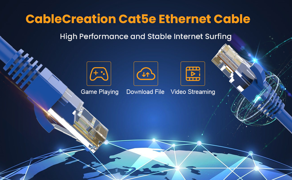 CAT 5e Ethernet Patch Cable RJ45 Computer Network Cord, Cat5/Cat5e/Cat6 LAN Cable UTP 24AWG