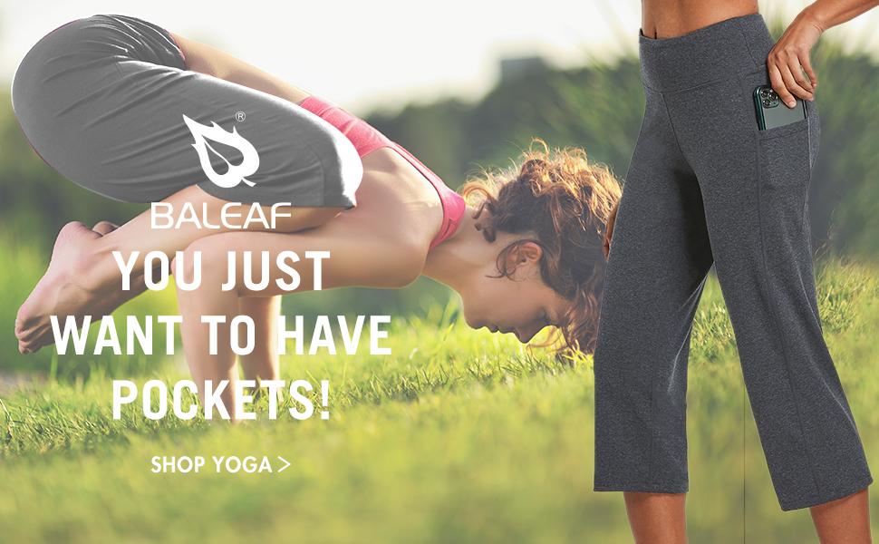BALEAF Womens Yoga Capris Leggings High Waisted Exercise Workout Loose Crop Straight Leg Open Bottom Pants Pockets