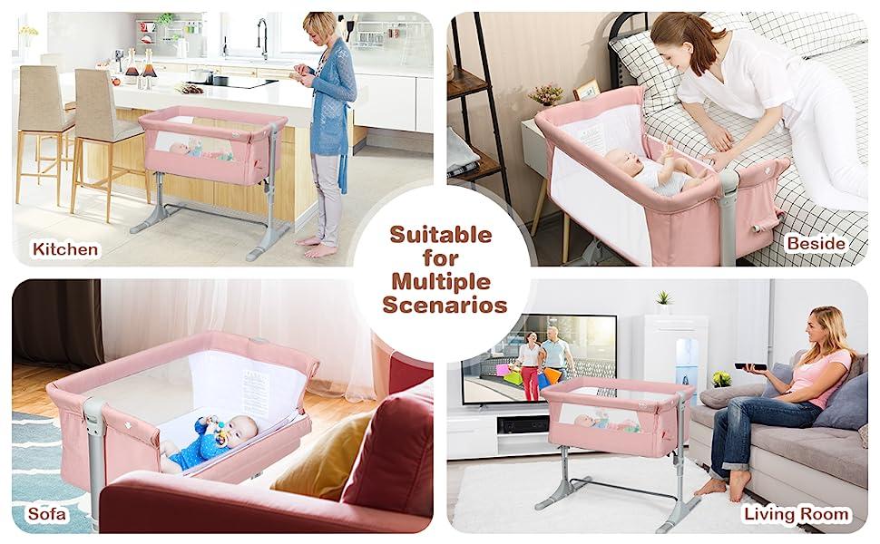 baby bassinet for bedside, sofa, living room, kitchen