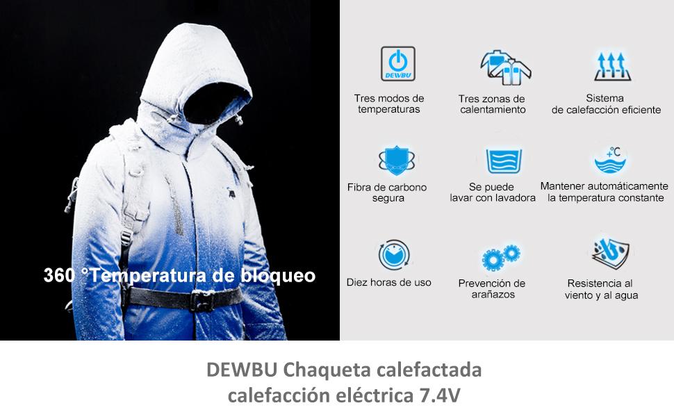 DEWBU Chaqueta con Calefaccion 7.4V Bacteria climatizada