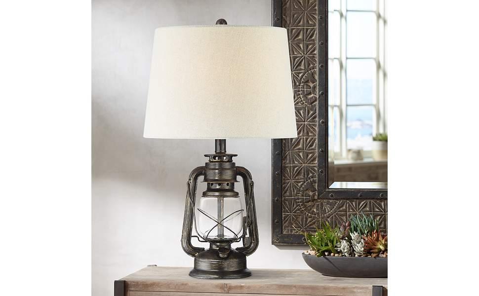 Murphy Weathered Bronze Miner Lantern Table Lamp