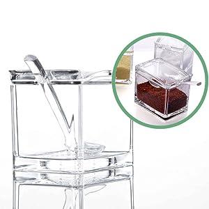 SZWL Juego De 4 Piezas Caja De Condimentos Acr/ílicos,Transparente Caja Para Condimentos Storage Contenedor Condimentos Sal Az/úcar Contenedor Botes Para Especias Con Tapa y Cucharas