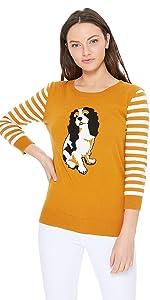 YEMAK Women's King Charles Spaniel Crewneck Jacquard Casual Pullover Sweater
