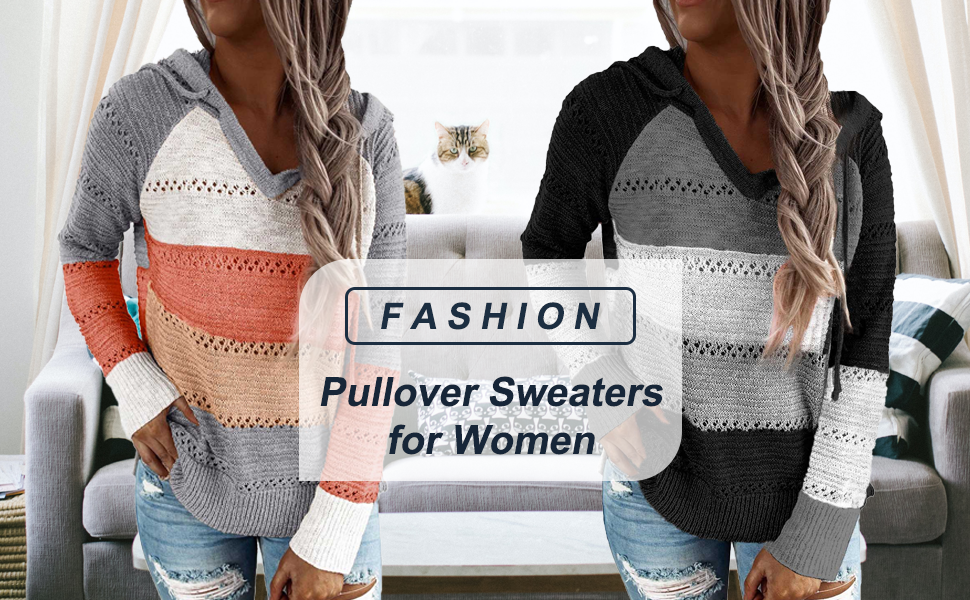 Women Fashion V Neck Knit Sweater Pullovers