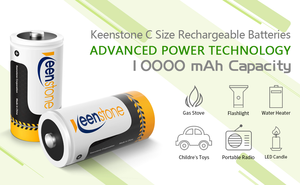 Keenstone 1.2V High Capacity D Size Battery D Cell Rechargeable Batteries 10000mAh Ni-MH 4-Pack Rechargeable D Batteries