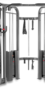 Functional trainer cable machine with dual 200 lb weight stacks & accessories hanging in center